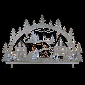 Schwibbögen Laubsägearbeiten Schwibbogen Erzgebirgsdorf mit Figuren, Übergröße - 125x82x16 cm