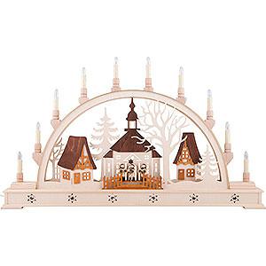 Schwibbögen Laubsägearbeiten Schwibbogen Kirche mit Sternsängern und LED-Innenbeleuchtung - 78x45 cm