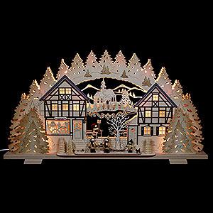 Schwibbögen Laubsägearbeiten Schwibbogen Kunstgewerbe mit Thielfiguren - 72x41x7 cm