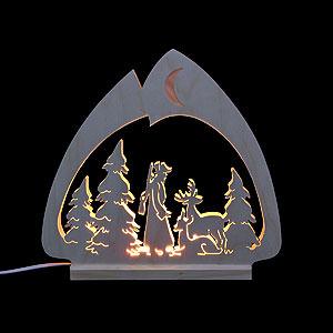 Schwibbögen Laubsägearbeiten Schwibbogen - LED-Leuchter Jäger - 30x28,5x4,5cm