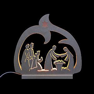Schwibbögen Laubsägearbeiten Schwibbogen - LED-Leuchter Krippe  - 30x28,5x4,5cm