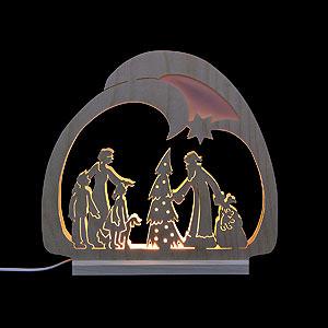 Schwibbögen Laubsägearbeiten Schwibbogen - LED-Leuchter Weihnachtsmann - 30x28,5x4,5cm