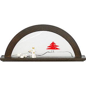 Schwibbögen Alle Schwibbögen Schwibbogen Mooreiche mit Glas und roter Tanne - 79x14x35 cm