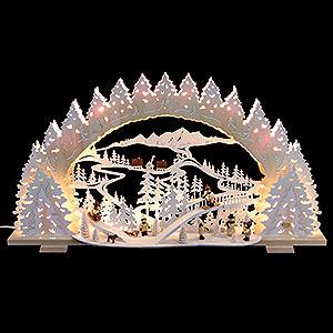 Schwibbögen Laubsägearbeiten Schwibbogen Rodeln auf dem Ziegenberg - 72x41x13 cm
