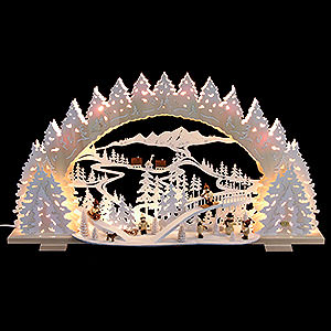 Schwibbögen Laubsägearbeiten Schwibbogen - Rodeln auf dem Ziegenberg - 72x41x13cm