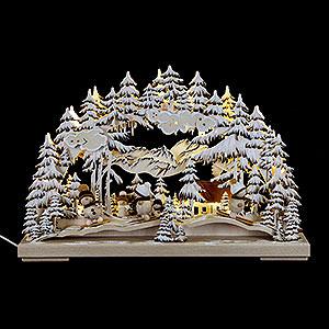 Schwibbögen Laubsägearbeiten Schwibbogen Rutschpartie Raureif - 43x30 cm