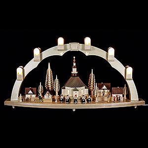 Schwibbögen Mit Innenbeleuchtung Schwibbogen Seiffener Kirche mit Dorf - 80 x 41 cm