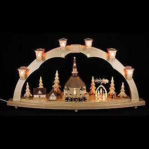 Schwibbögen Mit Innenbeleuchtung Schwibbogen Seiffener Kirche mit Pyramide - 40x80cm