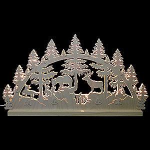 Schwibbögen Laubsägearbeiten Schwibbogen Tiere im Wald - 72x40x5,5cm