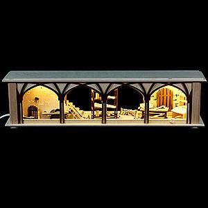 Schwibbögen Schwibbogen-Unterbauten Schwibbogen-Unterbau/Raumleuchte Tischlerlager, braun - 50x12x10cm