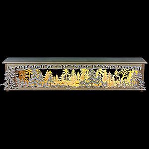 Schwibbögen Schwibbogen-Unterbauten Schwibbogen-Unterbau/Raumleuchte Waldlichtung mit Raureif - 70x12x12cm