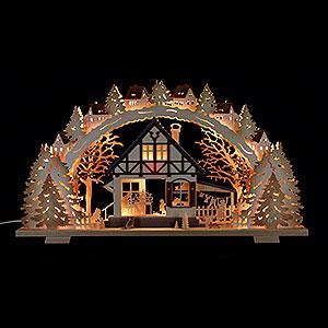 Schwibbögen Laubsägearbeiten Schwibbogen 'Waldhaus' - 72x41x6,5 cm