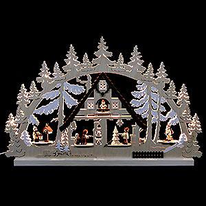 Schwibbögen Laubsägearbeiten Schwibbogen - Weihnachtshaus - 74x47x5,5cm