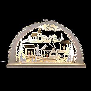 Schwibbögen Laubsägearbeiten Schwibbogen Weihnachtsmarkt - 62x37x4,5cm