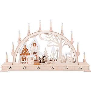 Schwibbögen Laubsägearbeiten Schwibbogen Weihnachtsmarkt mit LED-Innenbeleuchtung - 78x45 cm