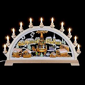 Schwibbögen Laubsägearbeiten Schwibbogen Weihnachtsmarkt mit Pyramide, farbig - 65x40 cm