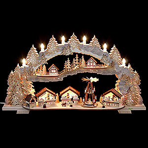 Schwibbögen Laubsägearbeiten Schwibbogen - Weihnachtsmarkt (variabel) - 72x43x13cm