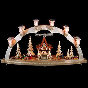 Schwibbögen Alle Schwibbögen Schwibbogen Weihnachtswald mit Adventshaus, elektrisch - 80x41 cm