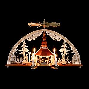 Schwibbögen Laubsägearbeiten Schwibbogen mit Pyramide und Kerzen Seiffener Kirche - 51x27 cm