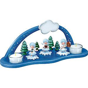 Kleine Figuren & Miniaturen Kuhnert Schneeflöckchen Schwibbogen mit zwei Teelichtern - 29x11,5x11,1cm