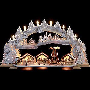 Schwibbögen Laubsägearbeiten Schwibbogen - verschneiter Weihnachtsmarkt (variabel) - 72x43x13cm