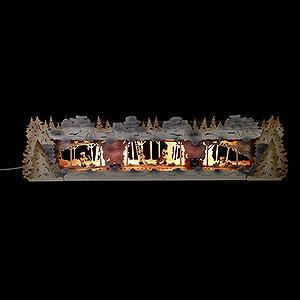 NEUHEITEN Schwibbogenerh�hung Bergbau mit Bergleuten exclusiv Thielfiguren, beleuchtet - 79x20x16cm