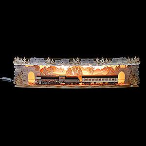Schwibbögen Schwibbogen-Unterbauten Schwibbogenerhöhung 'Mit der Bahn durchs Erzgebirge' exklusiv, beleuchtet - 75x20x15 cm