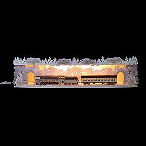 Schwibbögen Schwibbogen-Unterbauten Schwibbogenerhöhung 'Mit der Bahn durchs Erzgebirge' verschneit, beleuchtet - 75x20x15 cm