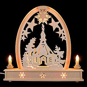 Schwibbögen Laubsägearbeiten Seidelbogen Seiffener Kirche - 36 cmx37 cm