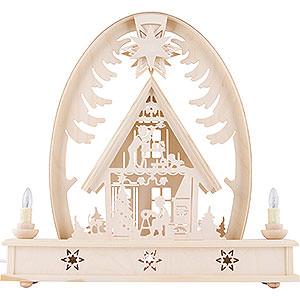Schwibbögen Laubsägearbeiten Seidelbogen Weihnachtshaus - 36cm x 37cm