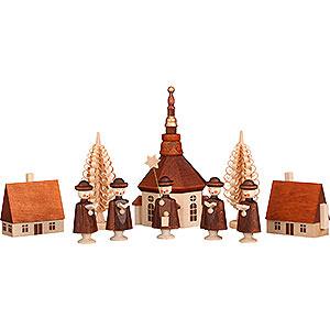 Kleine Figuren & Miniaturen Kurrenden Seiffener Dorf mit Kurrende - 12 cm