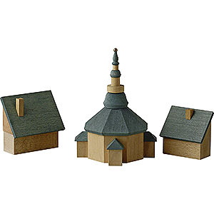 Weihnachtsengel Günter Reichel Dekoration Seiffener Kirche mit Häusern - 11 cm