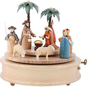 Spieldosen Weihnachten Spieldose Krippe farbenfroh - 23 cm