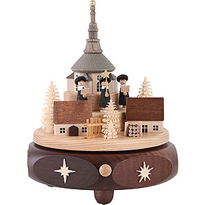 Spieldosen Weihnachten Spieldose Seiffener Kirchdorf mit Kurrende - 17 cm