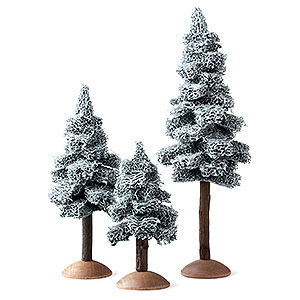 Weihnachtsengel Günter Reichel Dekoration Tanne mit Schnee mit Stamm sortiert, 3-teilig - 17 cm