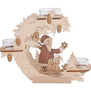 Lichterwelt Kerzenhalter Weihnachtsmann Teelichtkranz Weihnachtsmann - 15 cm