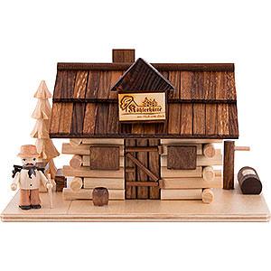 Räuchermänner Sonstige Figuren Traditionelles Rauchhaus Köhlerhütte mit Waldarbeiter - 10,5 cm