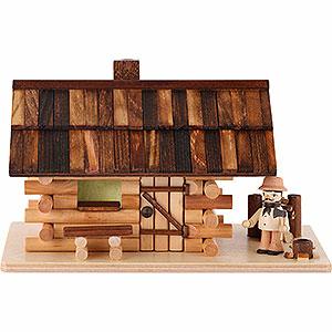 Räuchermänner Sonstige Figuren Traditionelles Rauchhaus Waldhütte mit Waldarbeiter - 10cm