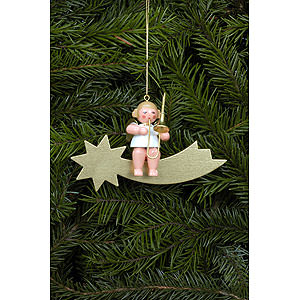 Tree ornaments Angel Ornaments Series Stars & Gold Tree ornament Angel and Star in gold with Trombone - 6,5 cm / 3 inch