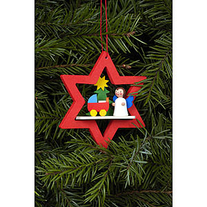 Tree ornaments Angel Ornaments Misc. Angels Tree ornament Angel in Star with Dolls pram - 6,8 x 7,8 cm / 3 x 3 i