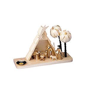 Lichterwelt Kerzenhalter Christi Geburt Weihnachtskrippe - geschnitztes Haus - 15 cm