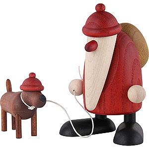 Kleine Figuren & Miniaturen Björn Köhler Weihnachtsmänner kl. Weihnachtsmann m.Dackel Waldemar - 9cm