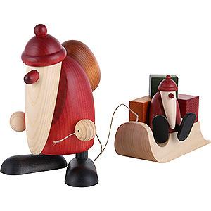 Kleine Figuren & Miniaturen Björn Köhler Weihnachtsmänner gr. Weihnachtsmann m.Schlitten u.Kind - 19cm