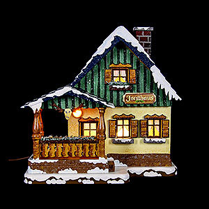 Kleine Figuren & Miniaturen Hubrig Winterkinder Winterhaus Forsthaus beleuchtet - 15cm
