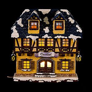 Kleine Figuren & Miniaturen Hubrig Winterkinder Winterhaus Gasthof beleuchtet - 15 cm