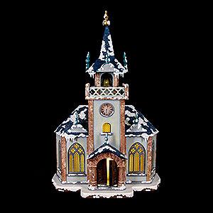 Kleine Figuren & Miniaturen Hubrig Winterkinder Winterhaus Kirche beleuchtet - 31cm