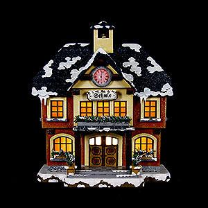 Kleine Figuren & Miniaturen Hubrig Winterkinder Winterhaus Schule beleuchtet - 15cm
