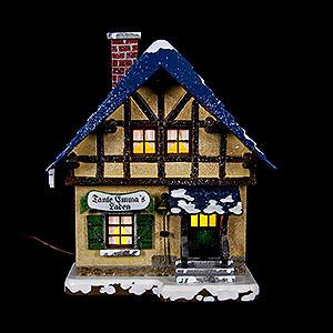 Kleine Figuren & Miniaturen Hubrig Winterkinder Winterhaus Tante-Emma-Laden beleuchtet - 14 cm
