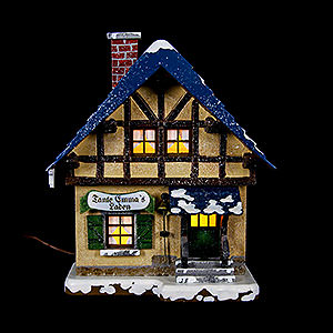 Kleine Figuren & Miniaturen Hubrig Winterkinder Winterhaus Tante-Emma-Laden beleuchtet - 14cm