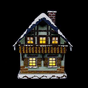 Kleine Figuren & Miniaturen Hubrig Winterkinder Winterhaus mit Balkon beleuchtet - 15cm